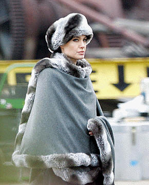 "Angelina Jolie wearing a fake fur costume for the movie ""Salt"""